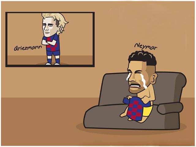 """Ảnh chế: Neymar """"khóc ròng"""" vì Griezmann, Barca và Real đại náo chuyển nhượng"""