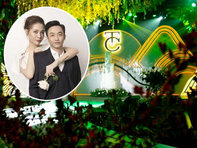 Không gian tiệc cưới ngập tràn màu xanh của Cường Đô La - Đàm Thu Trang