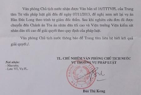 Công văn gửi đến TANDTC và VKSNDTC để làm rõ vụ án Hàn Đức Long, giết người, hiếp dâm trẻ em vào năm 2005