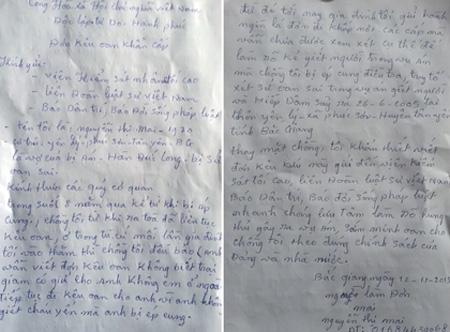 Đơn kêu oan cho chồng của bà Nguyễn Thị Mai, vợ bị án Hàn Đức Long gửi đến báo Dân trí