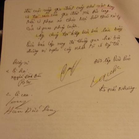 Việc thỏa thuận dàn xếp giữa bị can và gia đình bị hại được Công an Bắc Giang đứng ra giải quyết. ( Ảnh Luật sư Vũ Thị Nga cung cấp)