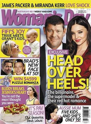 Trang bìa Woman's Day với hình ảnh ghép giữa Miranda Kerr và tỷ phú James Packer số ra ngày 2.12