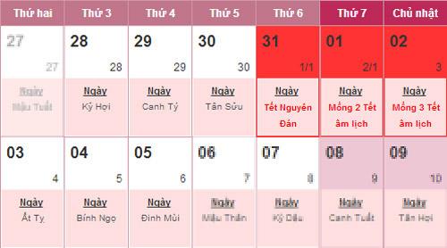 Lịch nghỉ Tết Giáp Ngọ bắt đầu từ ngày 28/1 đến hết 5/2/2014 (tức là từ 28 tháng Chạp đến hết mùng 6 tháng Giêng).