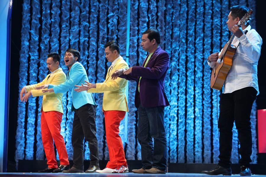 Thành Trung, Xuân Bắc, Tự Long, Quang Thắng trong hoạt cảnh
