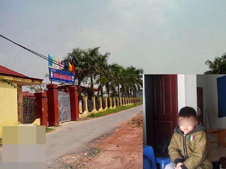 Bên ngoài trường mầm non Thiên Hương nơi cháu H. theo học.