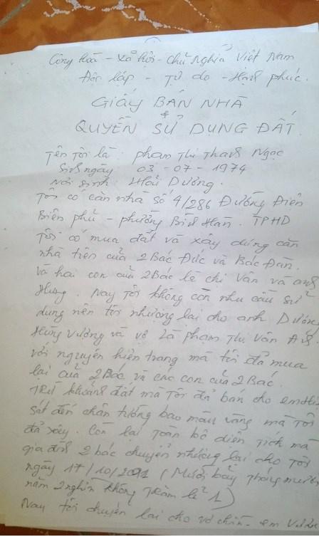 Trong giấy chứng nhận bán nhà và đất của chị N với gia đình bà Đào Thị Tuyết ...
