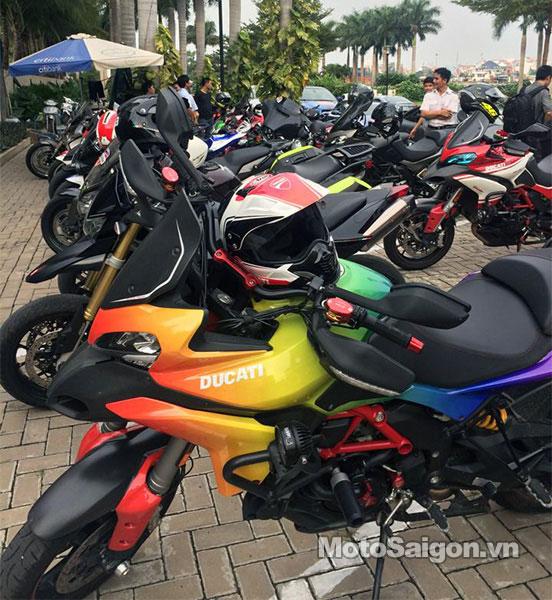 Chiếc Ducati Multistrada sơn màu 7 sắc cầu vồng trong đám cưới của Thu Thủy.