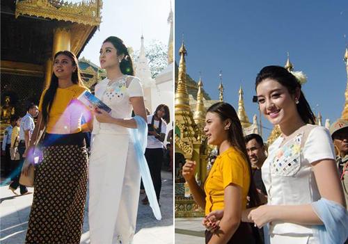 Huyền My xinh đẹp rạng rỡ với quốc phục Myanmar