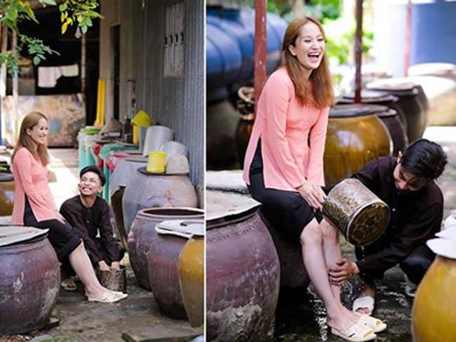Phan Hiển vừa tỏ tình, vừa rửa chân cho bà xã Khánh Thi