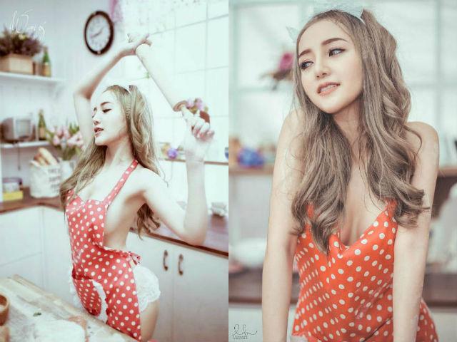 Nữ DJ xinh đẹp Sài thành hóa cô nội trợ mặc nội y nấu bếp