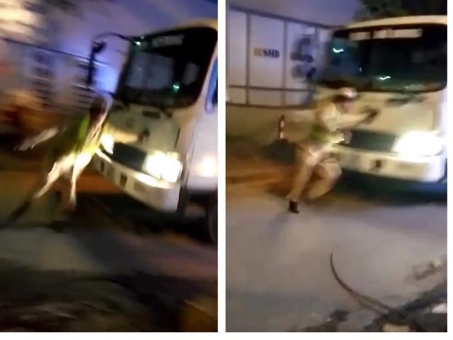 Thót tim xem clip CSGT bị xe tải đâm, phải nhảy khỏi đầu xe thoát thân