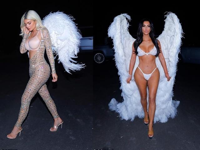 Chị em cô Kim hóa trang thành thiên thần nội y Victoria's Secret