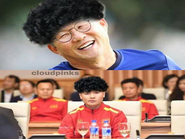 HLV Park Hang Seo và các cầu thủ cùng khoe tóc xoăn như Công Phượng