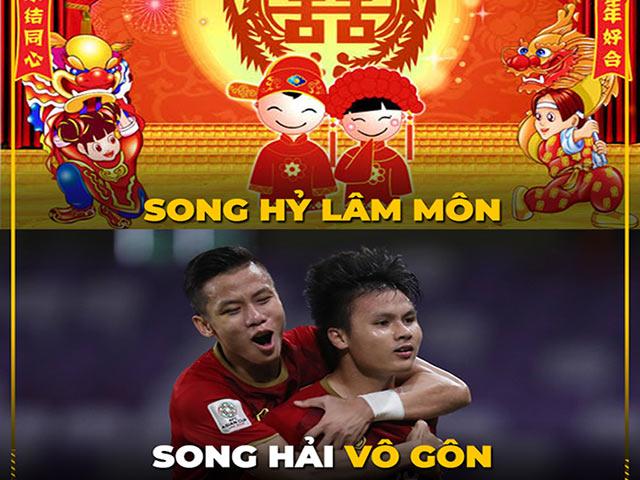 """Ảnh chế: Song Hải tỏa sáng, Việt Nam """"đè bẹp"""" Malaysia"""