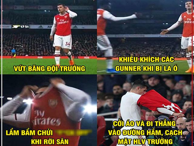 """Ảnh chế: Đội trưởng Xhaka """"bật"""" người hâm mộ, Arsenal đại loạn"""