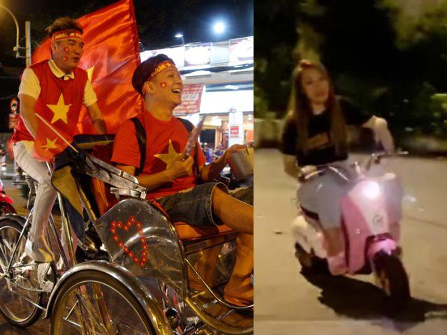 """Mỹ Tâmlái """"siêu xe"""", Mr Đàm đạp xích lô """"đi bão"""" mừng U22 Việt Nam vô địch"""