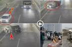Clip: Đi lùi trên vành đai 3 trên cao, ô tô con bị xe tải tông bẹp dúm biến dạng