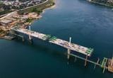 Toàn cảnh cầu Hoà Bình 2 trị giá gần 600 tỷ bắc qua sông Đà đang được xây dựng