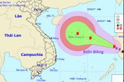 Bão số 13 giật cấp 12 hướng thẳng vào biển Đông