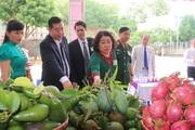 Ảnh: Hàng loạt nông sản sạch Yên Châu trưng bày tại Đại hội Đảng bộ