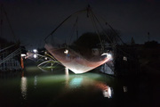 Nam Định: Ngắm xóm vó bè Bạch Long độc đáo bậc nhất rực sáng về đêm