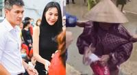 Thủy Tiên – Công Vinh phản ứng bất ngờ khi thấy bà cụ bị kéo mạnh tay trong lúc trao tiền cứu trợ miền Trung