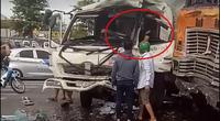 Video: Pha tông trực diện kinh hoàng giữa xe container và ô tô tải, tài xế tử vong