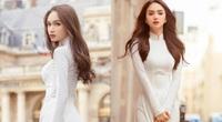 """Hương Giang mặc áo dài trắng tinh khôi đẹp tựa nữ thần ở Pháp, """"thả thính"""" gây """"bão"""" mạng"""