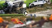 Clip: Xe tải đâm xe khách đi lễ chùa bay xuống ruộng, nhiều người thương vong