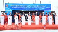 Ủy viên Bộ Chính trị Trần Cẩm Tú dự lễ hợp long cầu vượt sông Trà Lý ở Thái Bình