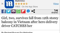 """""""Người hùng"""" Nguyễn Ngọc Mạnh cứu bé gái 3 tuổi rơi từ tầng 13 lên báo nước ngoài"""