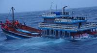 Bão Côn Sơn đánh chìm tàu cá, cảnh sát biển giải cứu 18 thuyền viên gặp nạn