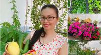 """Nhà đẹp của sao: Cẩm Ly """"ở ẩn"""" hóa nông dân thu hoạch rau trái xanh mướt trên sân thượng"""