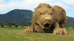 """Chiêm ngưỡng những """"quái vật"""" khổng lồ bằng rơm rạ giữa cánh đồng"""