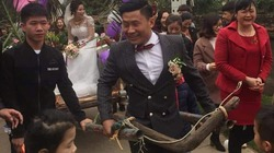 Chú rể vui mừng tự kéo xe trâu chở cô dâu về nhà mình ở Bắc Giang