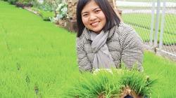 Người mẹ trẻ mang lúa về ruộng rươi