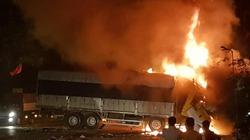 Đâm xe trên Quốc lộ 1A, hai người chết cháy trong ca bin