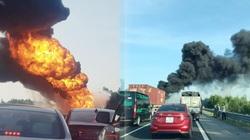 Xe chở dầu bất ngờ bốc cháy dữ dội trên cao tốc