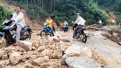 """Cận cảnh sạt lở """"hiếm thấy"""" tàn phá miền núi Bình Định"""