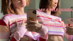 Bella Hadid mặc áo underboob trong thời gian cách ly vì dịch Covid-19