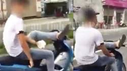 Hải Dương: Điều khiển xe mô tô bằng chân, nam thanh niên bị xử phạt