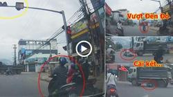 Đèn đỏ chỉ còn 3s, xe máy vẫn cố vượt và bị xe ben cán nát kéo lê trên đường
