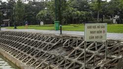 Công viên hồ điều hòa Thành phố Giao Lưu vừa hết thời hạn bảo hành đã bị sụt lún, bong tróc