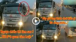 """Clip: Tài xế lái xe bê tông đi ngược chiều, xuống thách thức """"ngược chiều thì làm sao, không quan tâm luật""""?"""