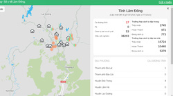 Lâm Đồng: Vận hành bản đồ số dịch tễ Covid-19, hiển thị đầy đủ thông tin dịch tại địa phương