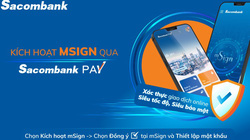Dễ dàng đăng ký mSign trên Sacombank Pay