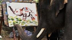 Kỳ lạ chú voi biết vẽ chân dung mình cực đẹp
