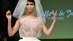 Sốc với mốt váy cưới trong suốt khoe ngực trần