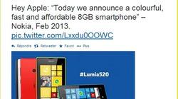 "Nokia ""ném gạch"" iPhone 5c bằng Lumia 520"