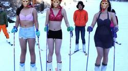 Thiếu nữ diện bikini hóa Tôn Ngộ Không trượt tuyết